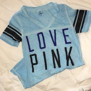 LOVE PINK Victoria's Secret tie dye blue v-neck